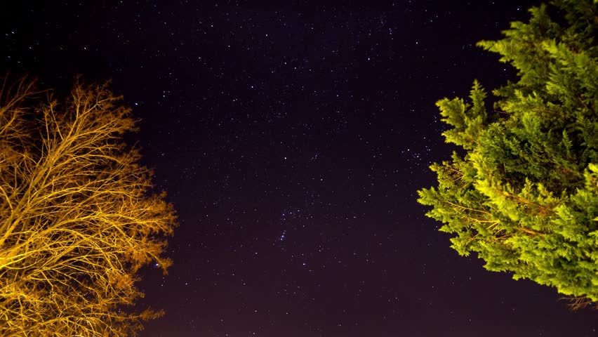 4K Timelapse Stars and Orion Constellation view from Tuscany