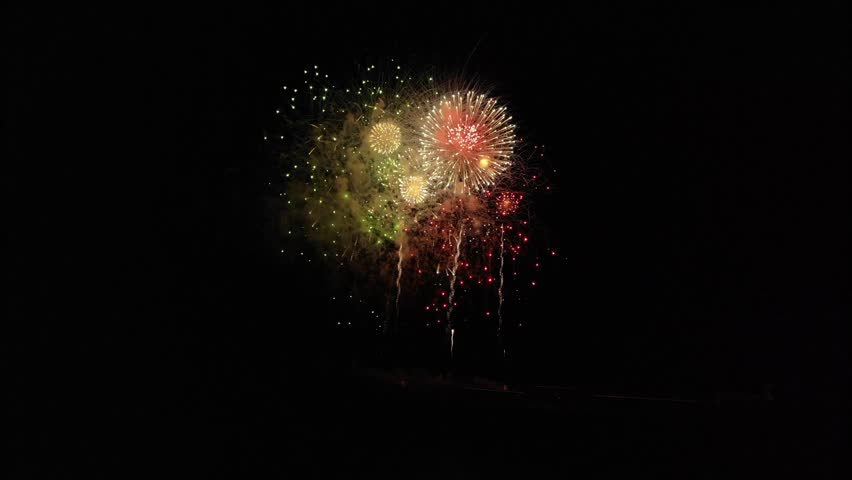 New Year's fireworks on Madeira Island, Funchal.