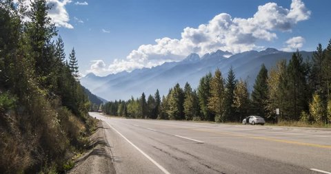 Time Lapse of traffic on the Trans Canada Highway in Glacier National Park, British Columbia, Canada, North America