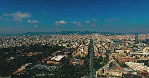Aerial skyline of Barcelona, Spain
