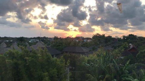 View of sunrise above Seminyak, Bali, Indonesia.