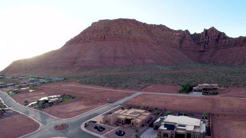 Aerial Mountain Desert Sunet