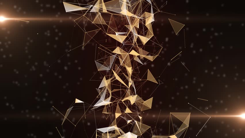 Plexus of abstract orange geometrical lines with moving triangles and dots. Loop animations. | Shutterstock HD Video #1013785823