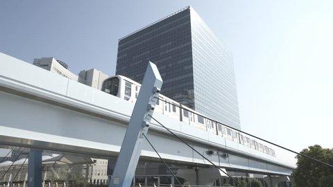 Elevated train line, Tokyo, Odaiba. Urban landscape.