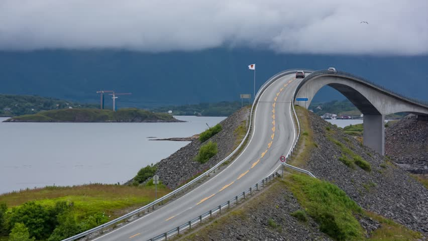 Norway Atlantic Ocean Road or the Atlantic Road (Atlanterhavsveien) been awarded the title as Norwegian Construction of the Century. The road classified as a National Tourist Route.