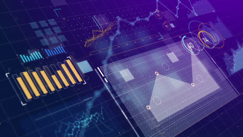 Futuristic User Interface. 3D animation showing data visualization display with various graphs and analytics. 3D animation information graphics.