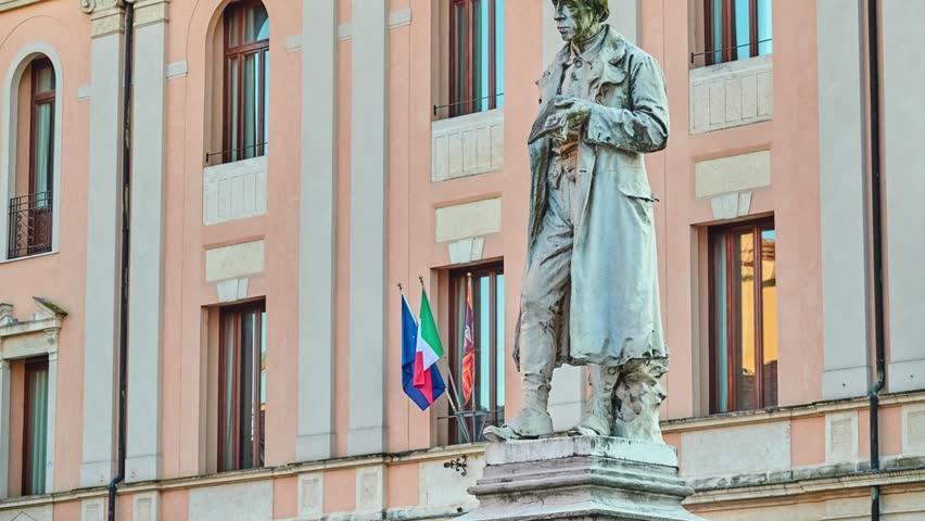 Monument to Giacomo Zanella near Church of San Lorenzo is place of Catholic worship in Vicenza, Italy.
