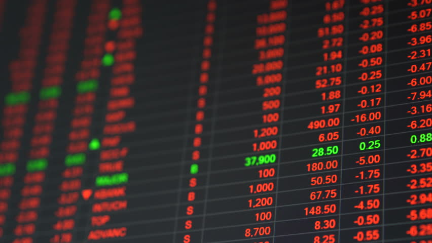 Economic crisis - Red stock market price board chart showing economic crisis of world stock. Bad economy and negative price down stock market situation. Traders are panic and selling their stock.   Shutterstock HD Video #1013835923