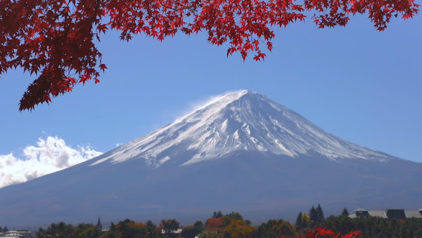 Colorful Autumn in Mount Fuji, Japan - Lake Kawaguchiko is one of the best places in Japan to enjoy Mount Fuji scenery of maple leaves changing color giving image of those leaves framing Mount Fuji. | Shutterstock HD Video #1013836103