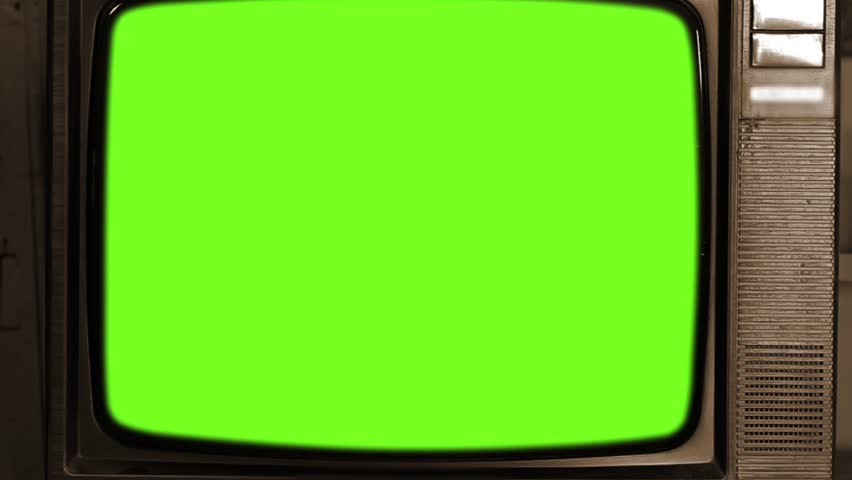 80s Television with Green Screen. Zoom Out Fast. Sepia Tone.  | Shutterstock HD Video #1013886803