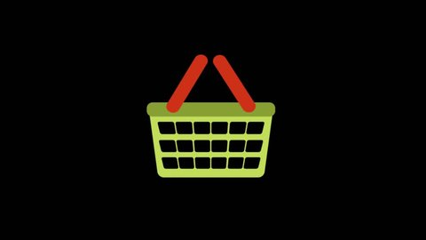 Delivery icons animation with black background.Basket icon animation with black background.