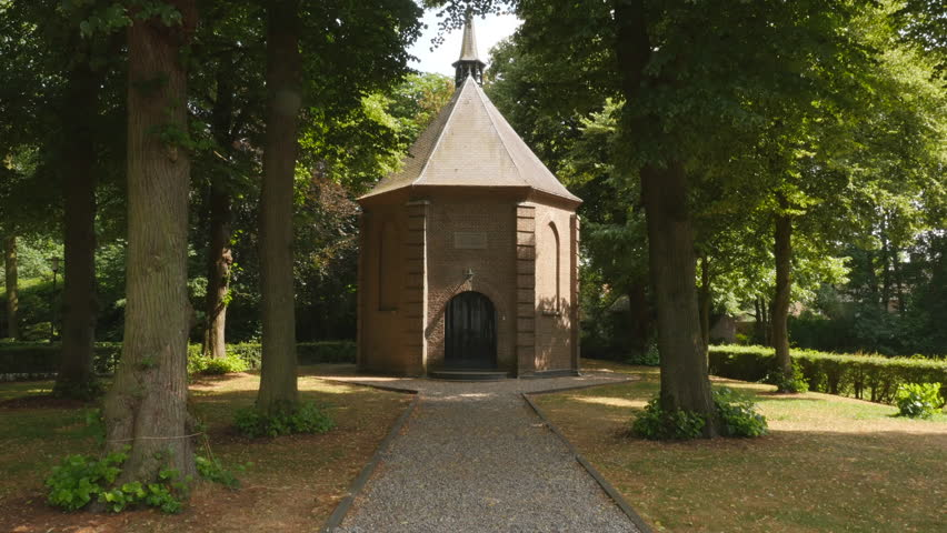"""Tilt up to the little Van Gogh church Nuenen. Painting """"Congregation Leaving the Reformed Church in Nuenen"""" stolen in 2002 and recovered in 2016."""