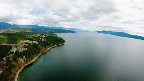 Myrtle Point Powell River British Columbia BC Aerial Flight Above Beach