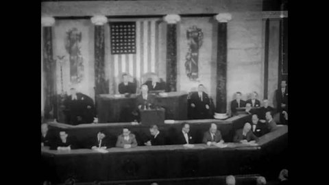 CIRCA 1950s - President Eisenhower addresses Congress and representatives from Kuwait are shown at the United Nations.