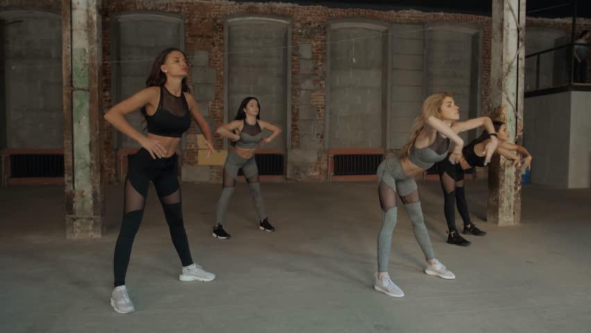 Yoga Practice Exercise Class Concept girls group training loft #1013937053
