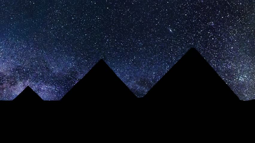 The Great Pyramids of Giza, near Cairo, Egypt, Stars Time Lapse at Night