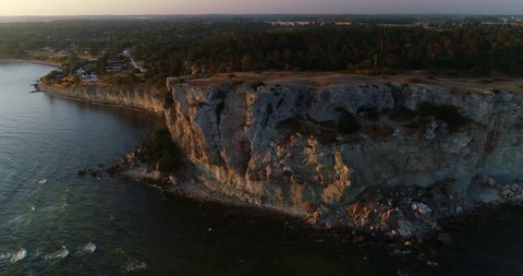 Eroded limestone coastline on the island of Gotland in Sweden, Aerial view