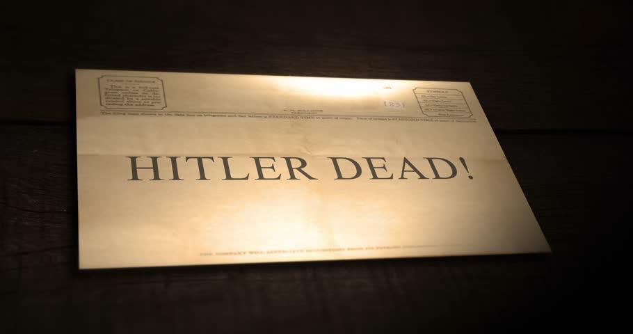Sepia old telegram text series -  Hitler dead!