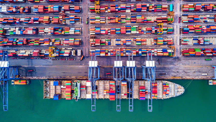4K Timelapse of modern industrial port with containers from top view or aerial view. It is an import and export cargo port where is a part of shipping dock.Singapore #1014005993