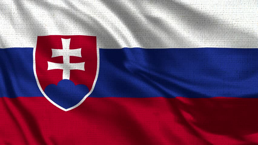 Slovakia Flag Loop - Realistic 4K - 60 fps flag of the Slovakia waving in the wind. Seamless loop with highly detailed fabric texture. Loop ready in 4k resolution