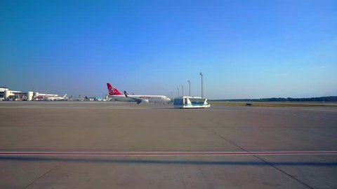 Antalya, Antalya / Turkey - July 14 2018: Antalya International Airport planes of various world airlines in the parking lot