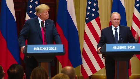 2018 - U.S. President Donald Trump holds a press conference with Russia Federation Vladimir Putin following their summit in Helsinki, Finland.