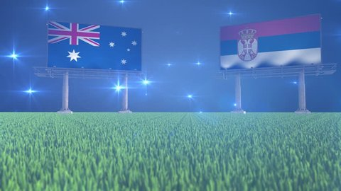 3d animated soccer ball bouncing in front of billboards with the flags of Australia and Serbia with flickering lights in the background in 4K resolution