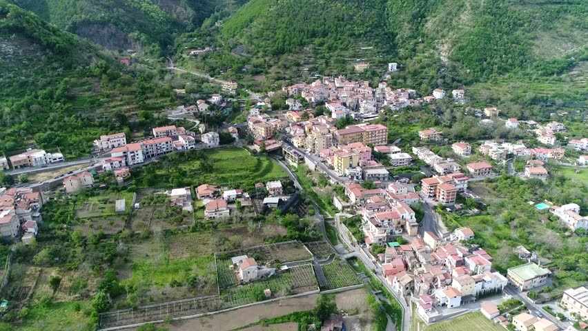 Aerial bird view footage of Corbara a town and comune in the province of Salerno in the Campania region of south-western Italy located near Naples and Pompei city 4k high resolution quality footage