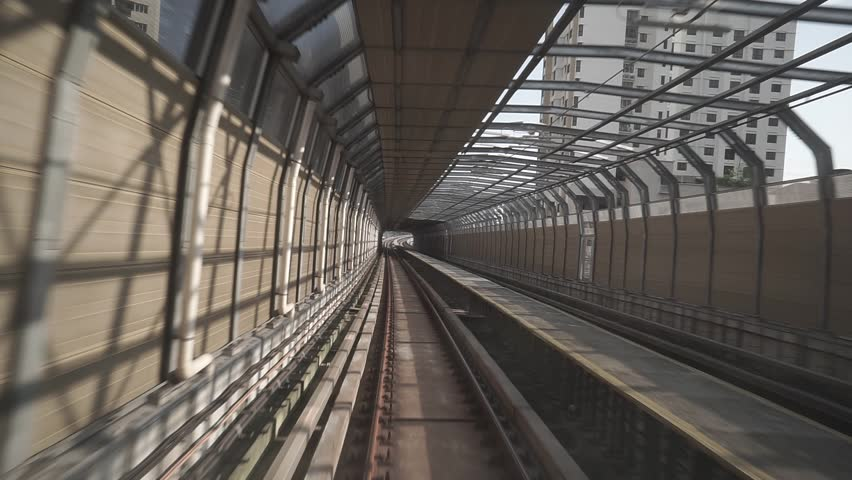 KUALA LUMPUR, MALAYSIA - 20 JUNE, 2018 : Malaysia MRT (Mass Rapid Transit) train and railway during sunrise. MRT is a transportation for future generation and bring Malaysia as a developed count | Shutterstock HD Video #1014220673