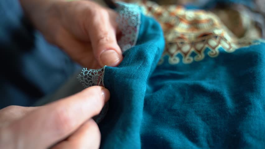 Woman Sewing Dress by Hand Close Up | Shutterstock HD Video #1014227483