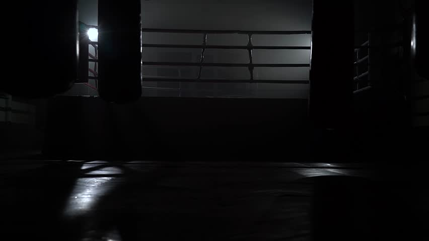 Empty boxing ring, sports pear pears weigh