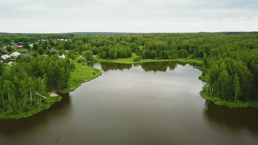 Lake near a forest and a village, aerial shot