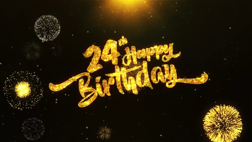 24th happy birthday text greeting stock footage video  100