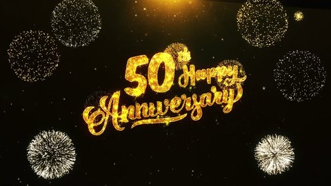 50th Happy Anniversary Text Greeting and Wishes card Made from Glitter Particles From Golden Firework display on Black Night Motion Background. for celebration, party, greeting card, invitation card.