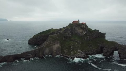 Aerial view of San Juan de Gaztelugatxe, a rocky island in Biscay Bay, Basque Country, Spain