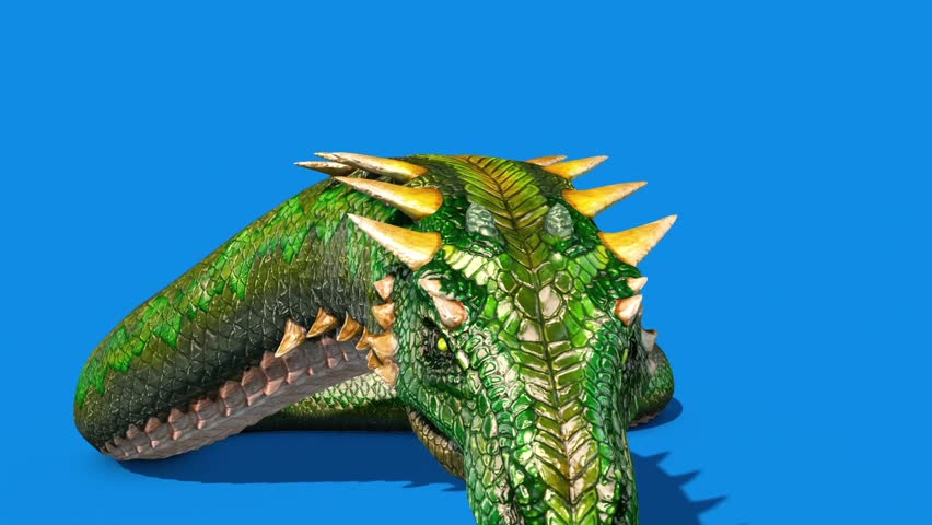 Mythological SNAKE Monster Dragoon Jump Front Blue Screen 3D Rendering Animation