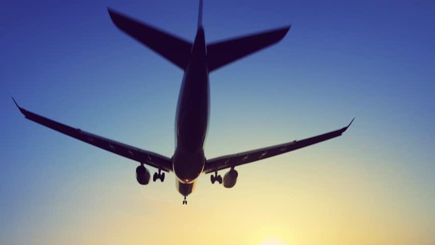 Plane landing over head | Shutterstock HD Video #1014330323