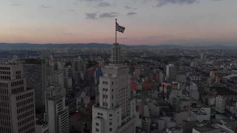 Sao Paulo, Sao Paulo / Brazil - 05/16/2018: Aerial cityscape, sunset building Altino Arantes ¨Banespao¨