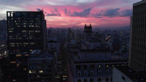 Aerial, sunset in Sao Paulo downtow from Altino Arantes building, Sao Paulo, Brazil