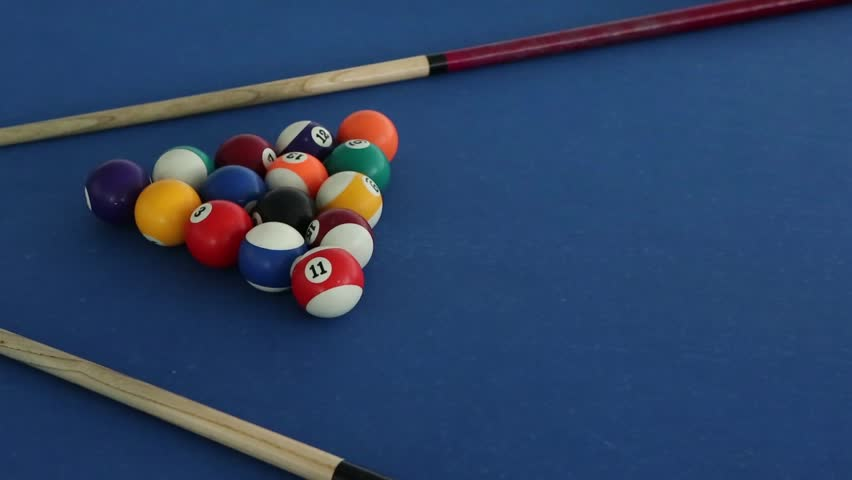 Billiard table, billiard balls and stick, details | Shutterstock HD Video #1014376073