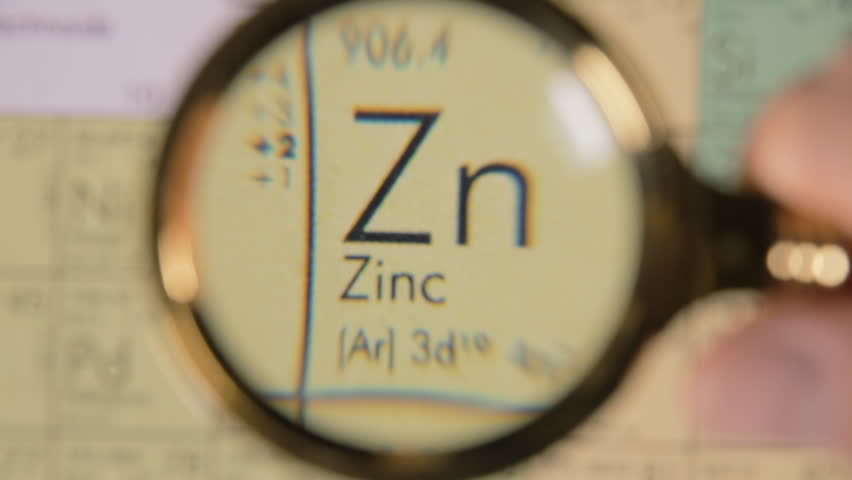 A hand moving a lens magnifier over a defocused board (a periodic table) and revealing the chemical element name, symbol and scientific properties of Zn, zinc.