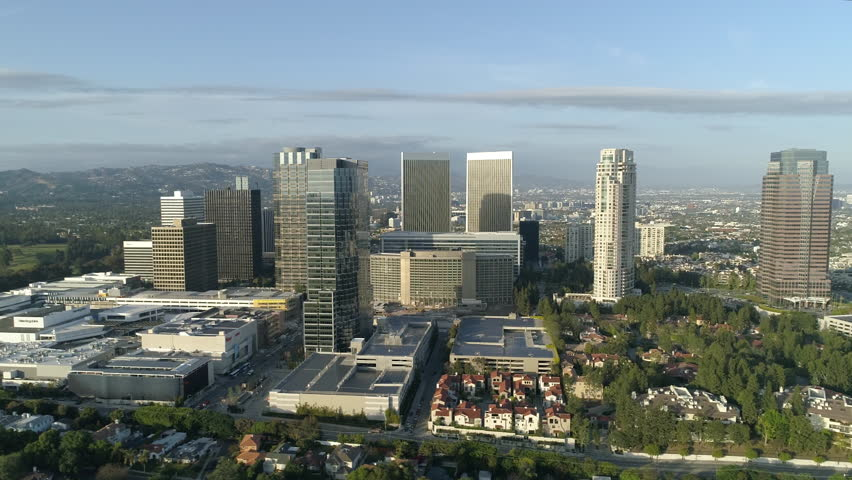 Beverly Hills, United States - June, 2017: Aerial shot of Beverly Hills with buildings | Shutterstock HD Video #1014394223