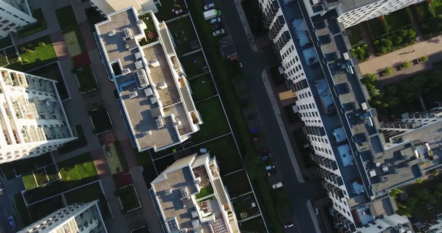 Overhead Drone Shot. Rooftops, Streets, People. Lifestyle | Shutterstock HD Video #1014411443
