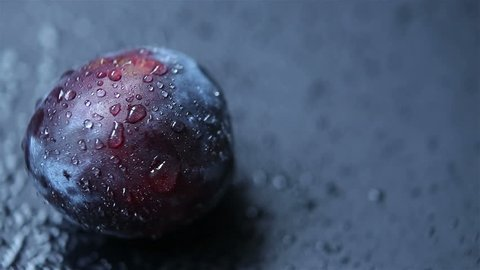 The dark blue plum. The blue plum is covered with drops of water, lies on a black background