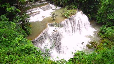 Beautiful waterfall in deep forest, Huay Mae Kamin Waterfall in Thailand
