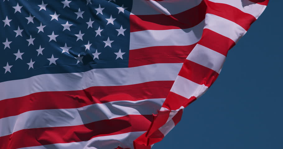 American Flag Waving in the Wind, Slow Motion 4K
