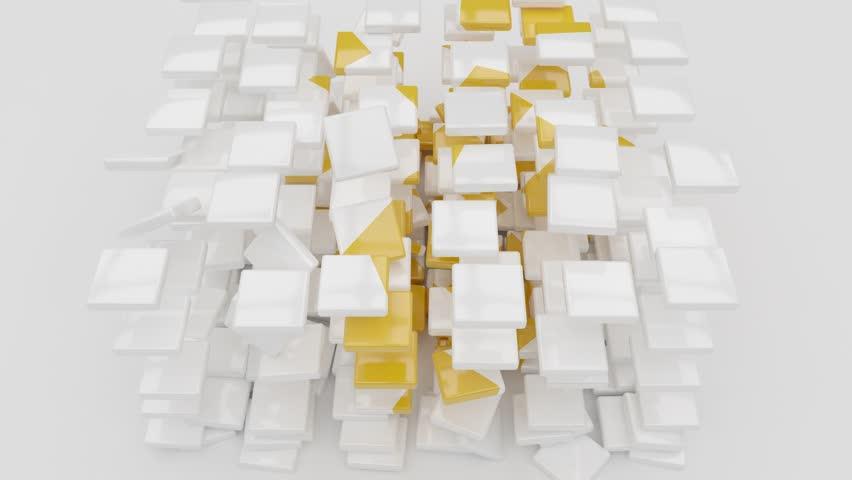 Golden Binance Coin Symbol Logo on White Cube Particle Background. Binance Coin Symbol Logo. 4K High Resolution Golden Binance Coin Symbol Logo Animation. Binance Coin Animation.
