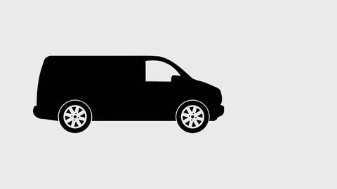 Moving car icon looped 2D animation on transparent background