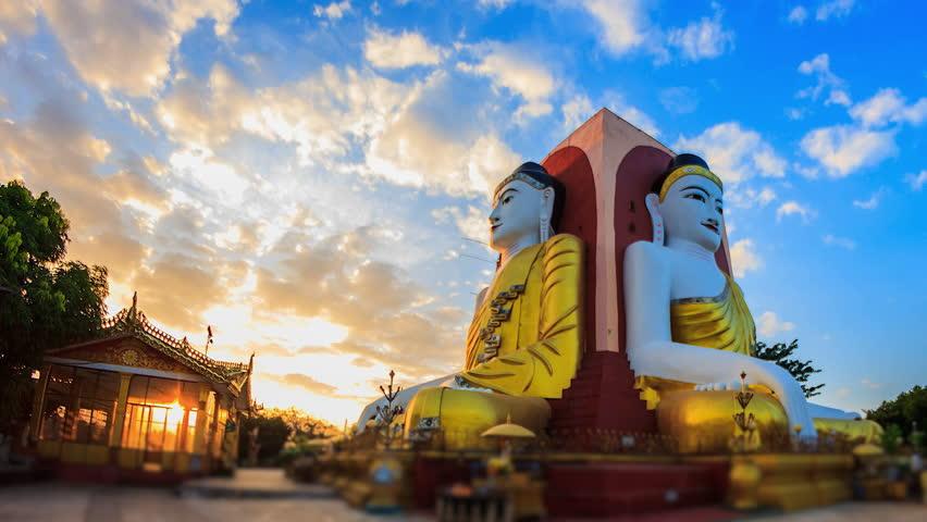 4K. Time lapse Highlight Kyaikpun Buddha in Bago, Myanmar, Kyaikpun Pagoda in Bago of Myanmar