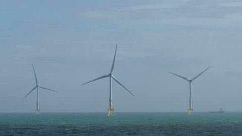 Part of the Aberdeen Bay Wind Farm, an offshore wind farm of 11 turbines located in the North Sea near Aberdeen, Scotland.